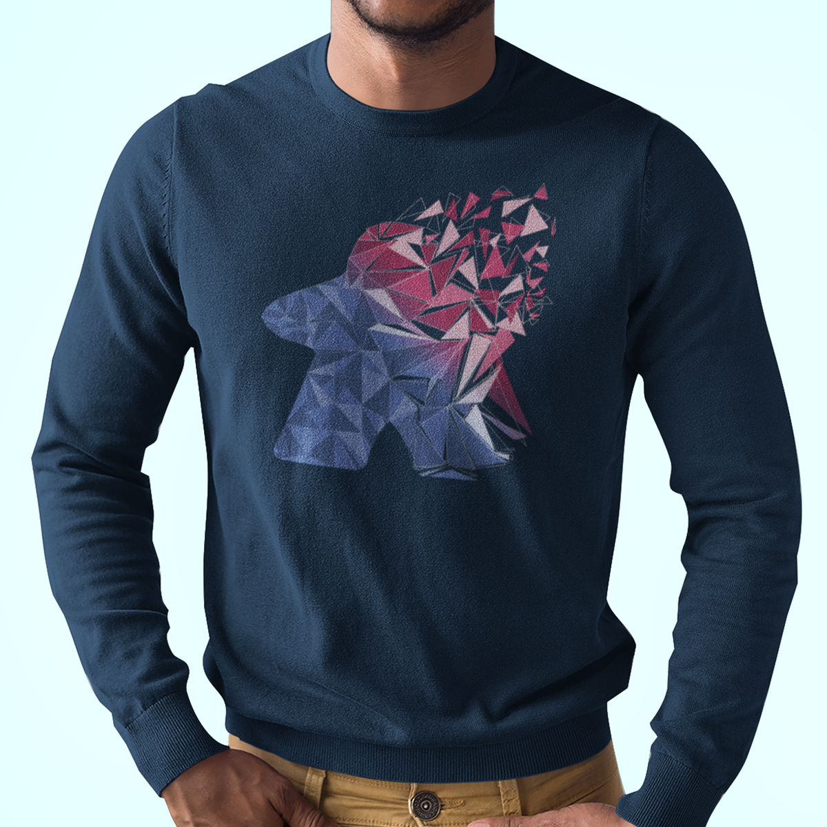 Cool Fragmented Meeple Longsleeve T-Shirt
