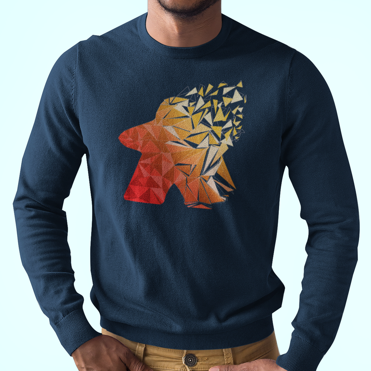 Warm Fragmented Meeple Longsleeve T-Shirt