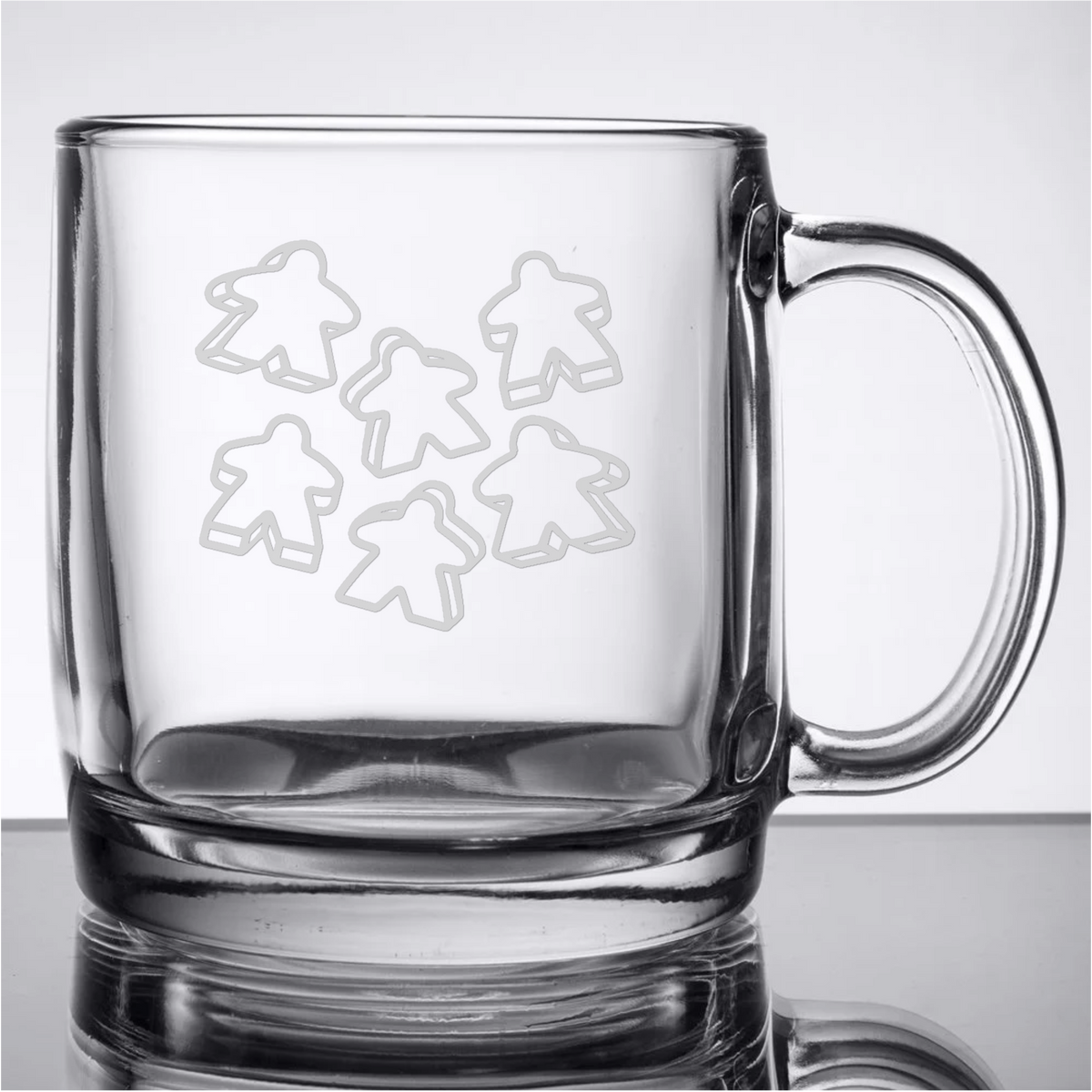 Meeple Rain Etched Glass 13oz Coffee Mug