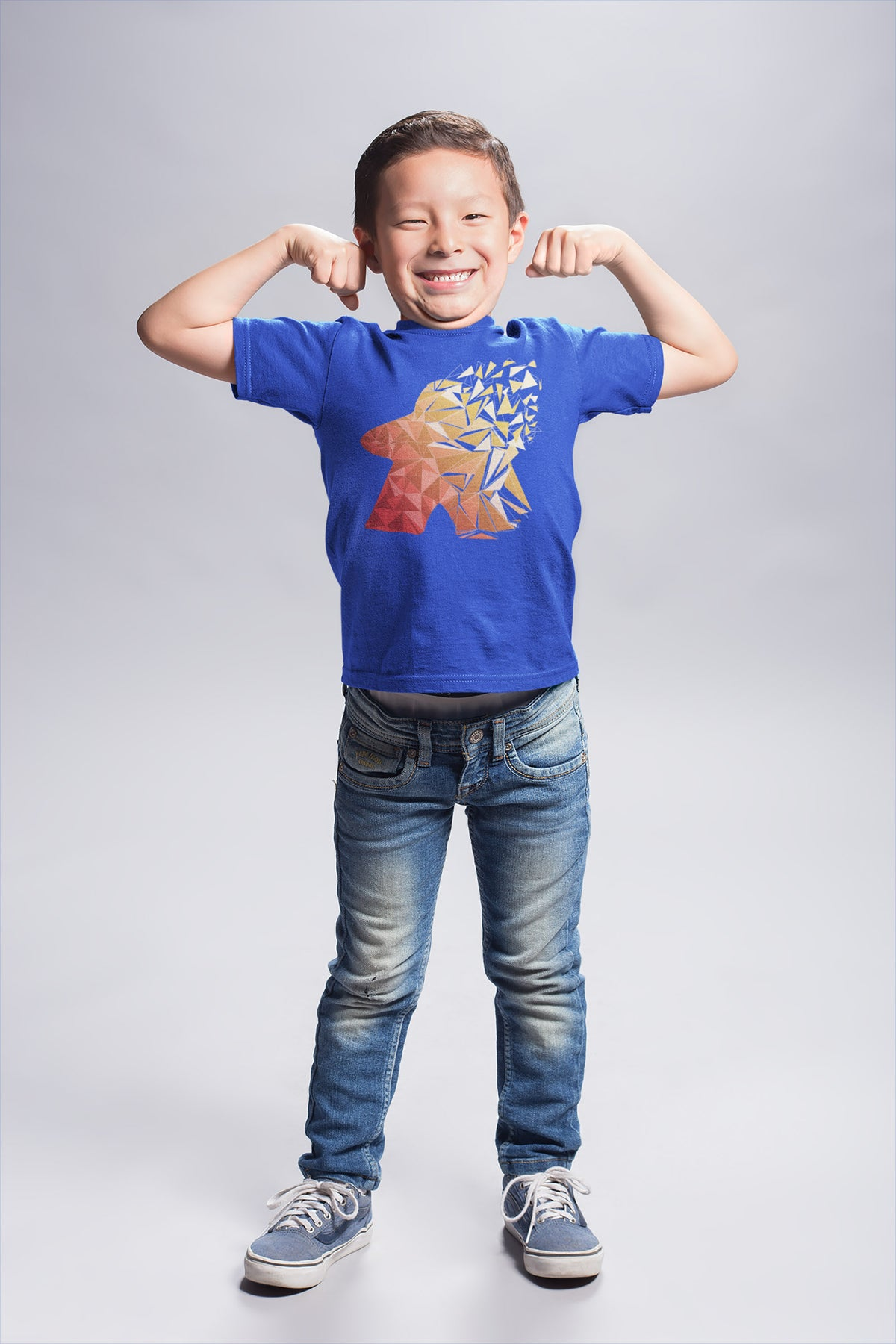 Fragmented Meeple Board Game T-Shirt Action Shot Boy's Blue