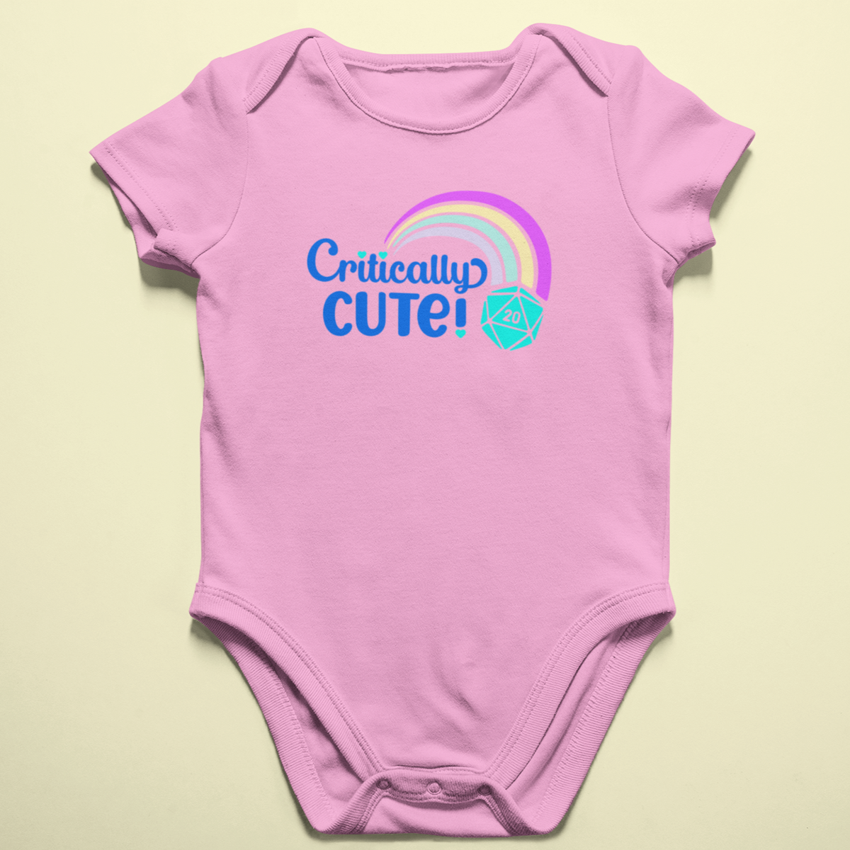 Critically Cute D20 Rainbow Baby Onesie