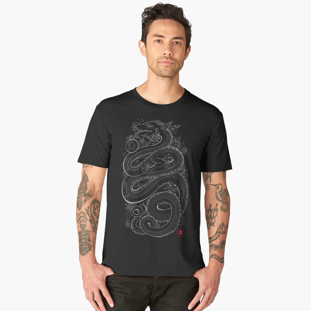 Dragon With The Meeple Tattoos Board Game T-Shirt Action Shot Men's
