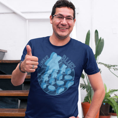 I'm Always Blue Meeple Board Game T-Shirt Action Shot Men's