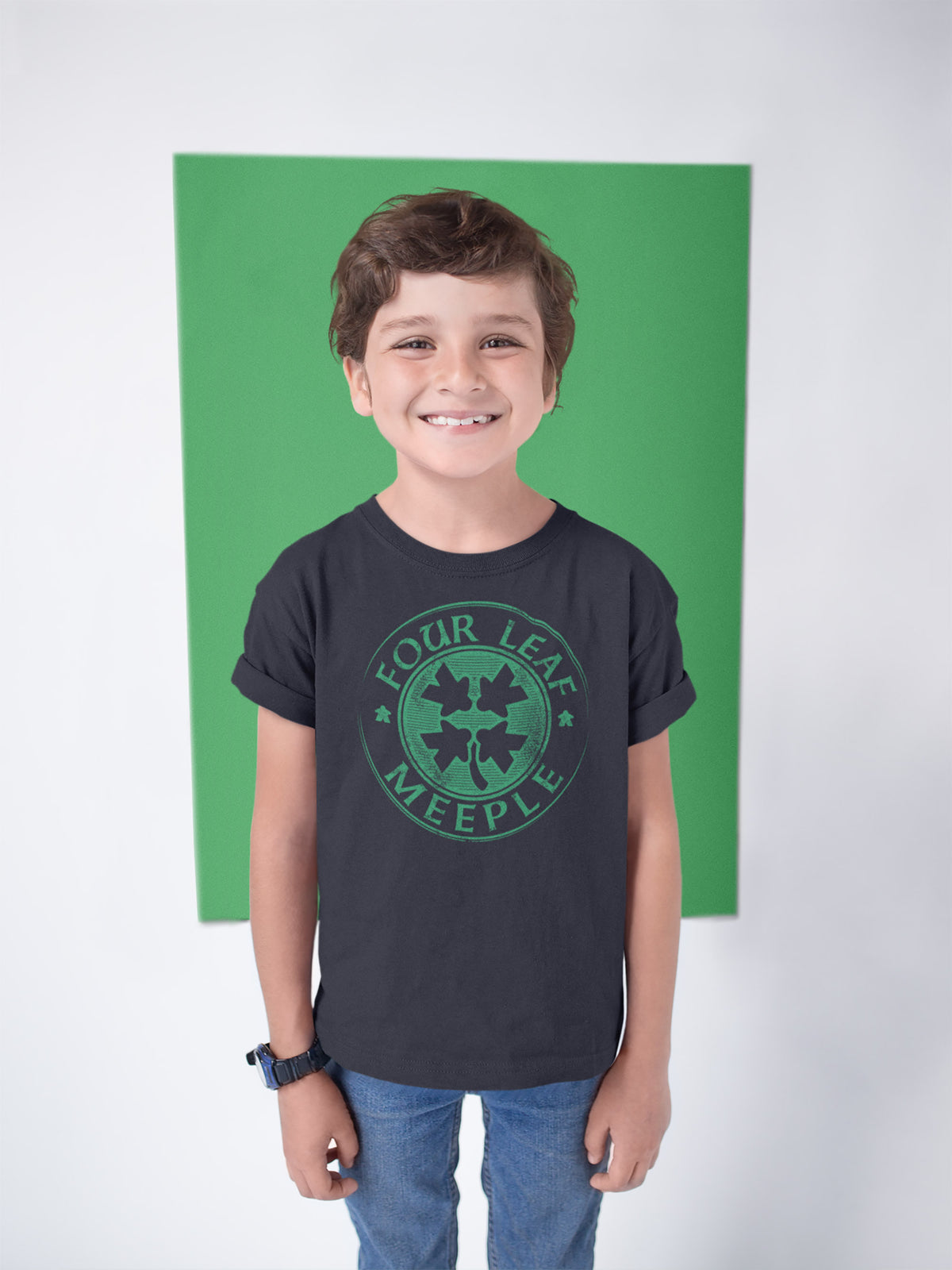 Four Leaf Meeple Board Game T-Shirt Action Shot Boy's
