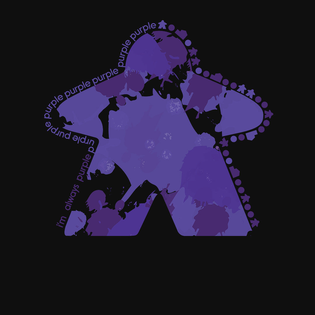 I'm Always Purple Meeple Board Game T-Shirt Close Up