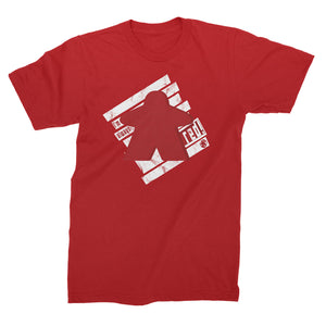 I'm always red meeple t-shirt flat