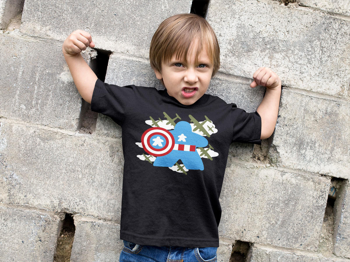 Fighting Captain Meeple Boardgame T-Shirt Action Shot Boy's