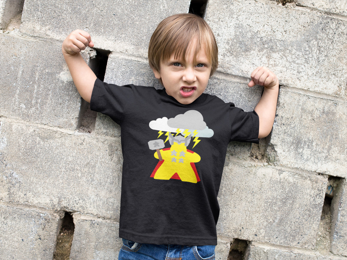 The Mighty Meeple: God of Thunder Board Game T-Shirt Action Shot Boy's