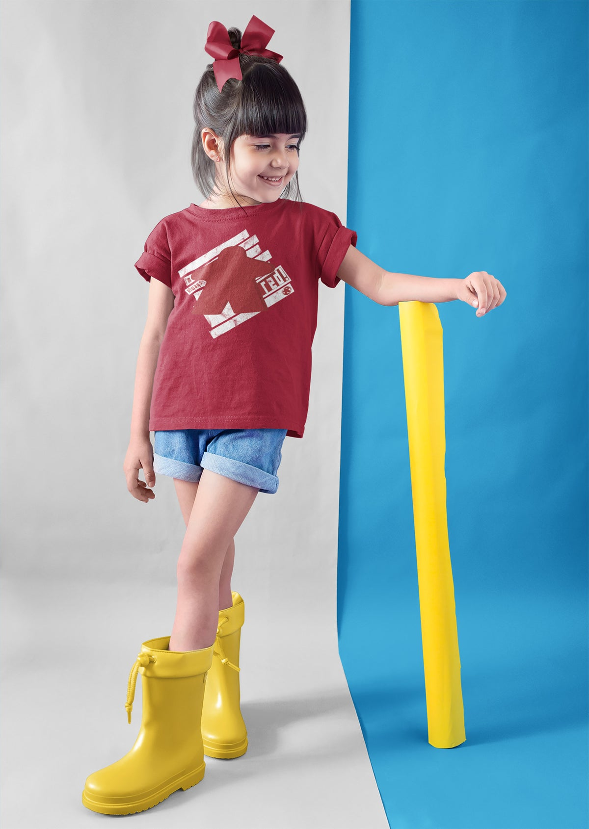 I'm Always Red Meeple Board Game T-Shirt Action Shot Girl's
