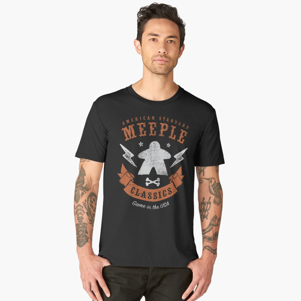 American Meeple Classics Boardgame T-Shirt Action Shot Men's