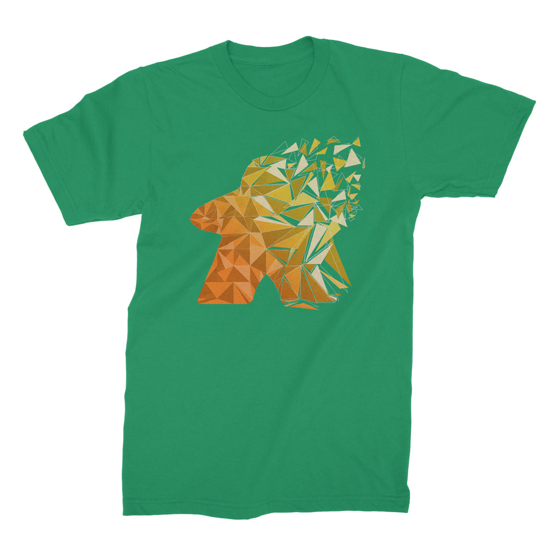 Fragmented Meeple Board Game T-Shirt Men's Flat Green