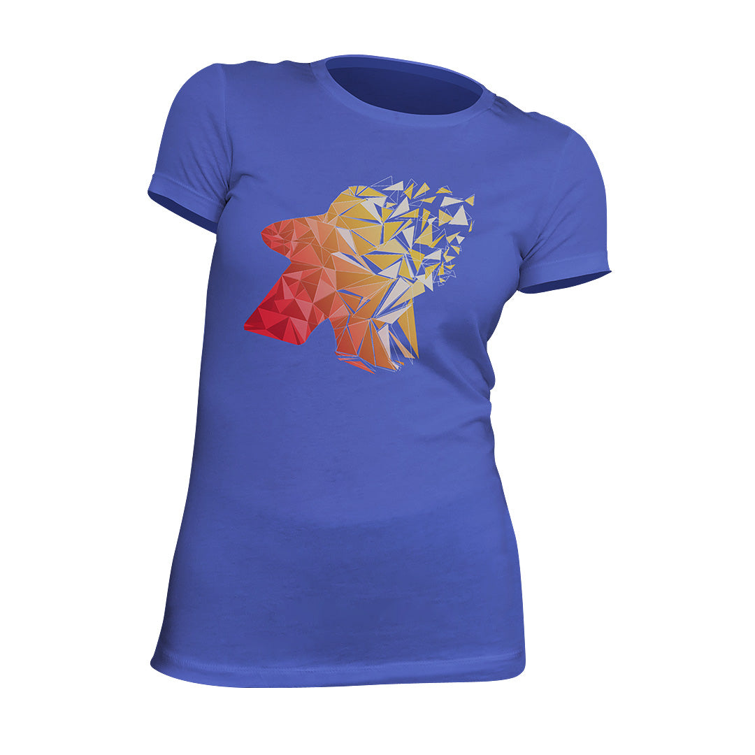 Fragmented Meeple Board Game T-Shirt Women's Flat Blue