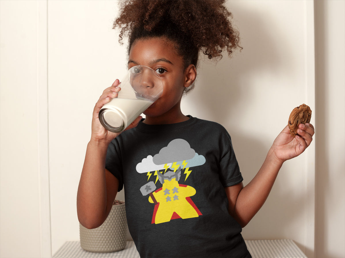 The Mighty Meeple: God of Thunder Board Game T-Shirt Action Shot Girl's