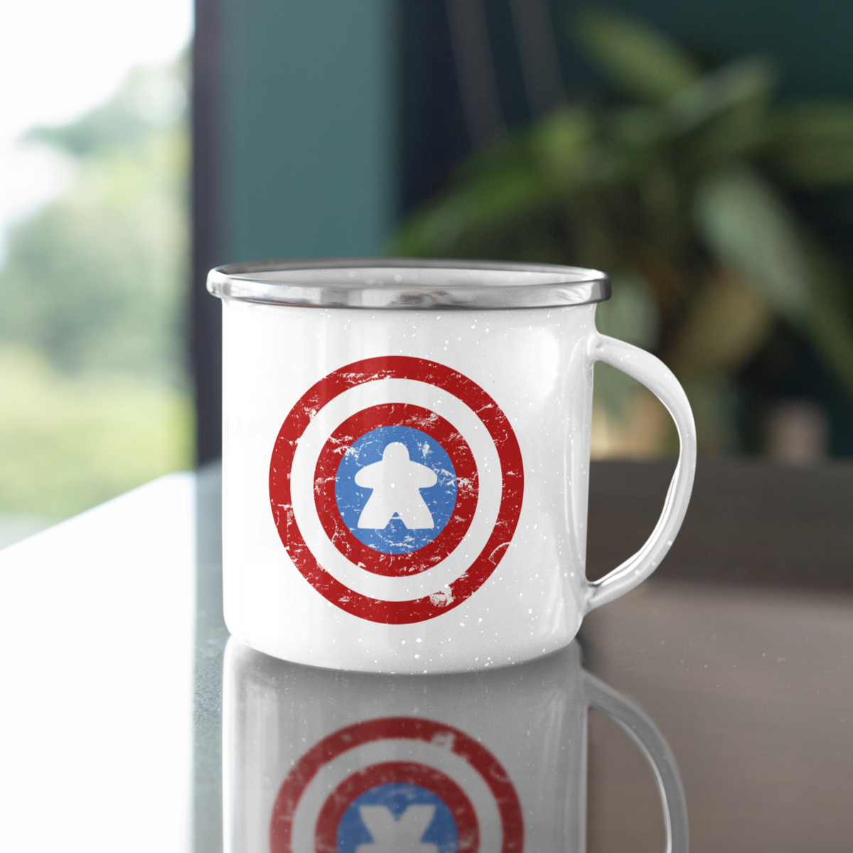 Captain Meeple Shield 11oz Stainless Steel Camping Mug