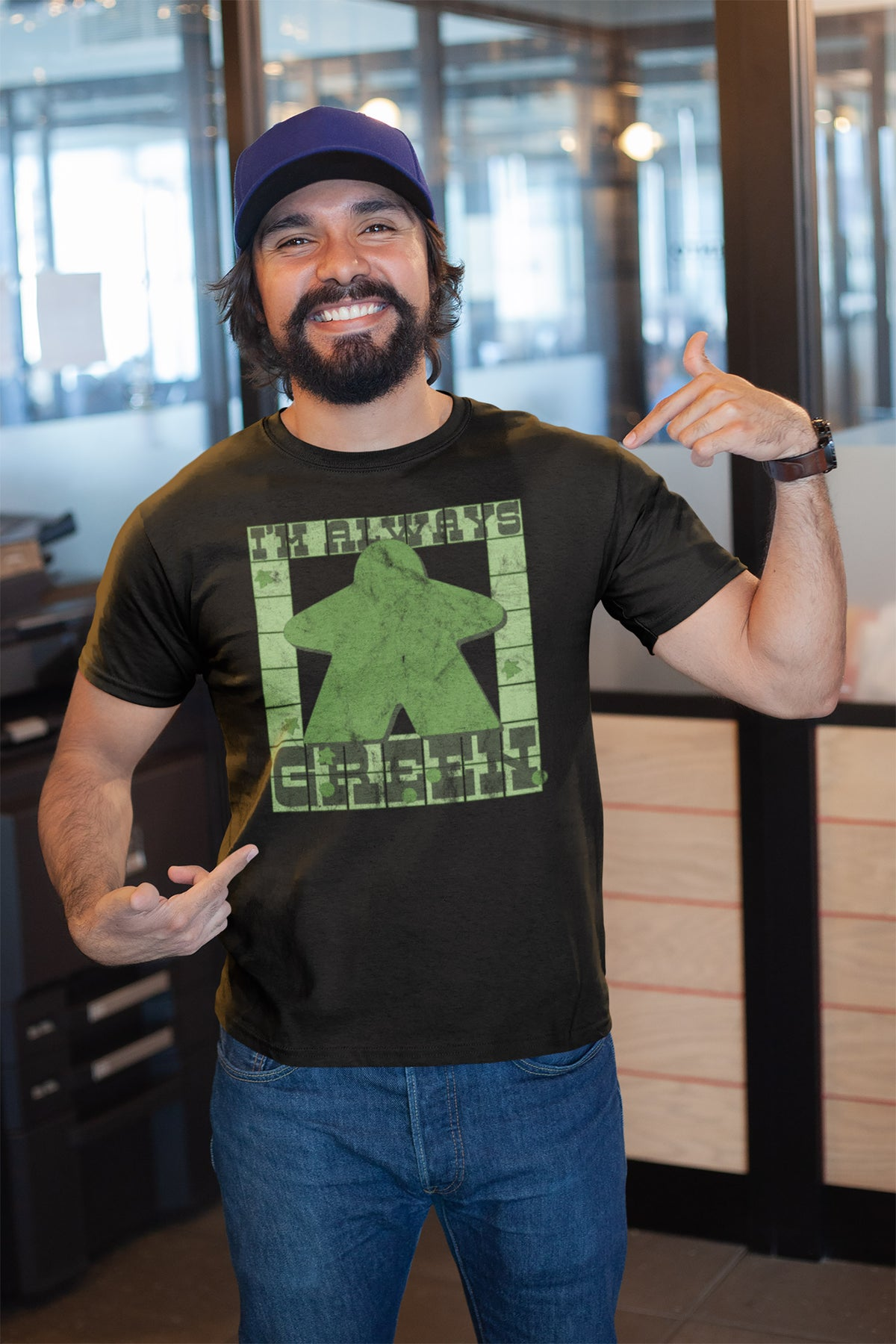 I'm Always Green Meeple Board Game T-Shirt Action Shot Men's