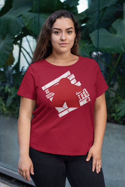 I'm Always Red Meeple Board Game T-Shirt Action Shot Women's