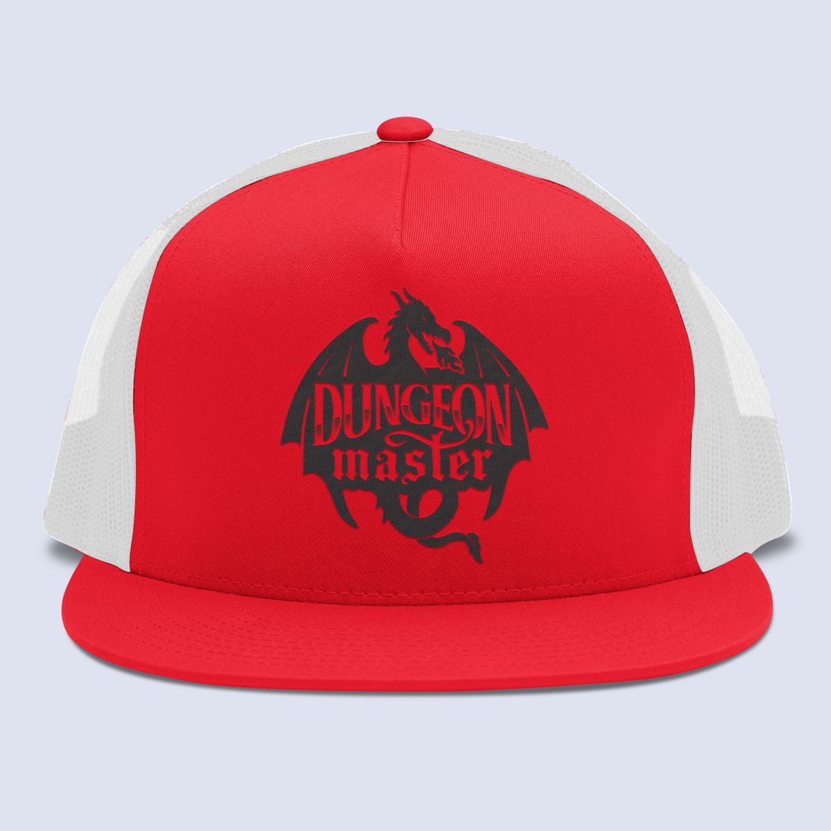 Dungeon Master Dragon Emblem Flat Bill Trucker Hat