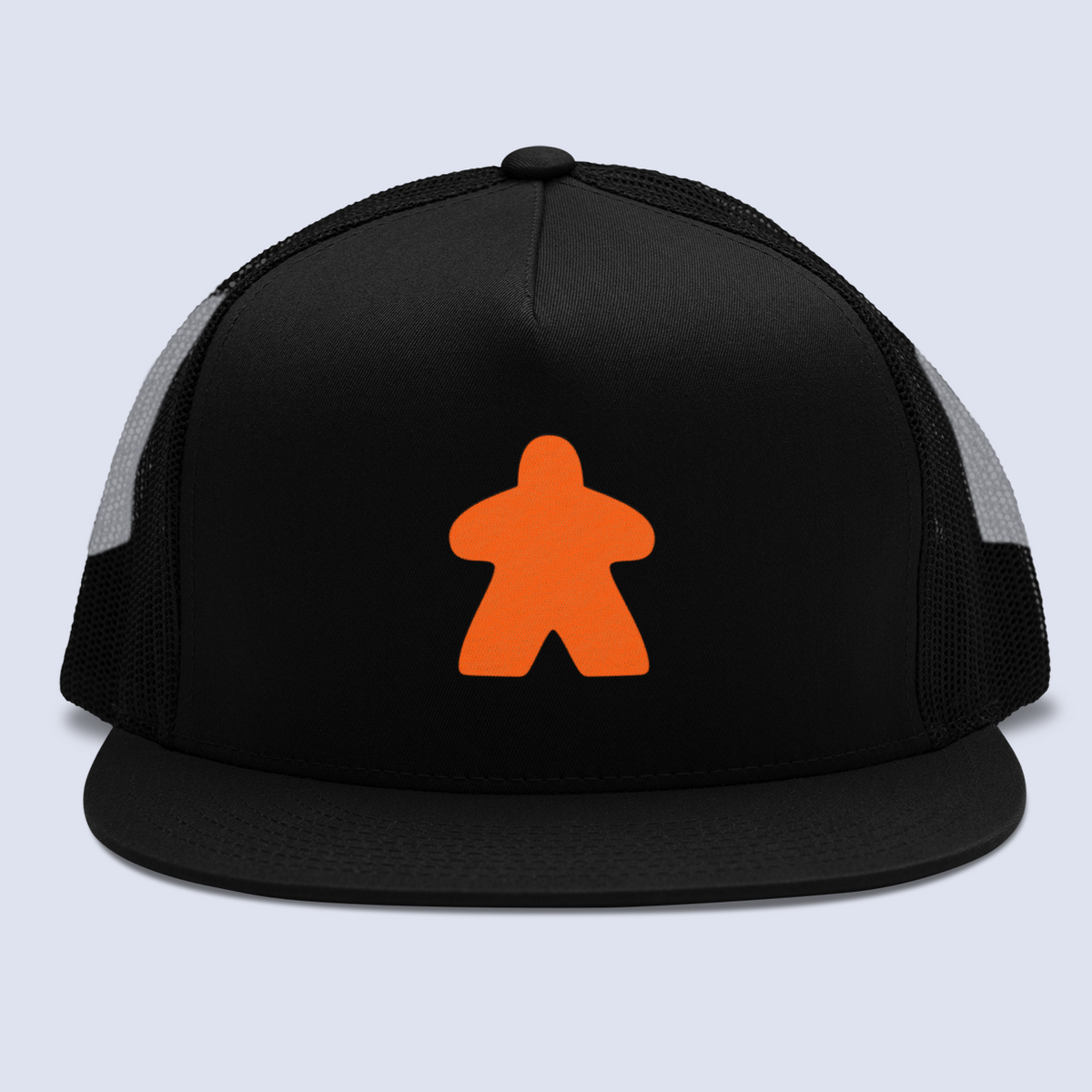 Orange Meeple Board Game Flat Bill Trucker Hat