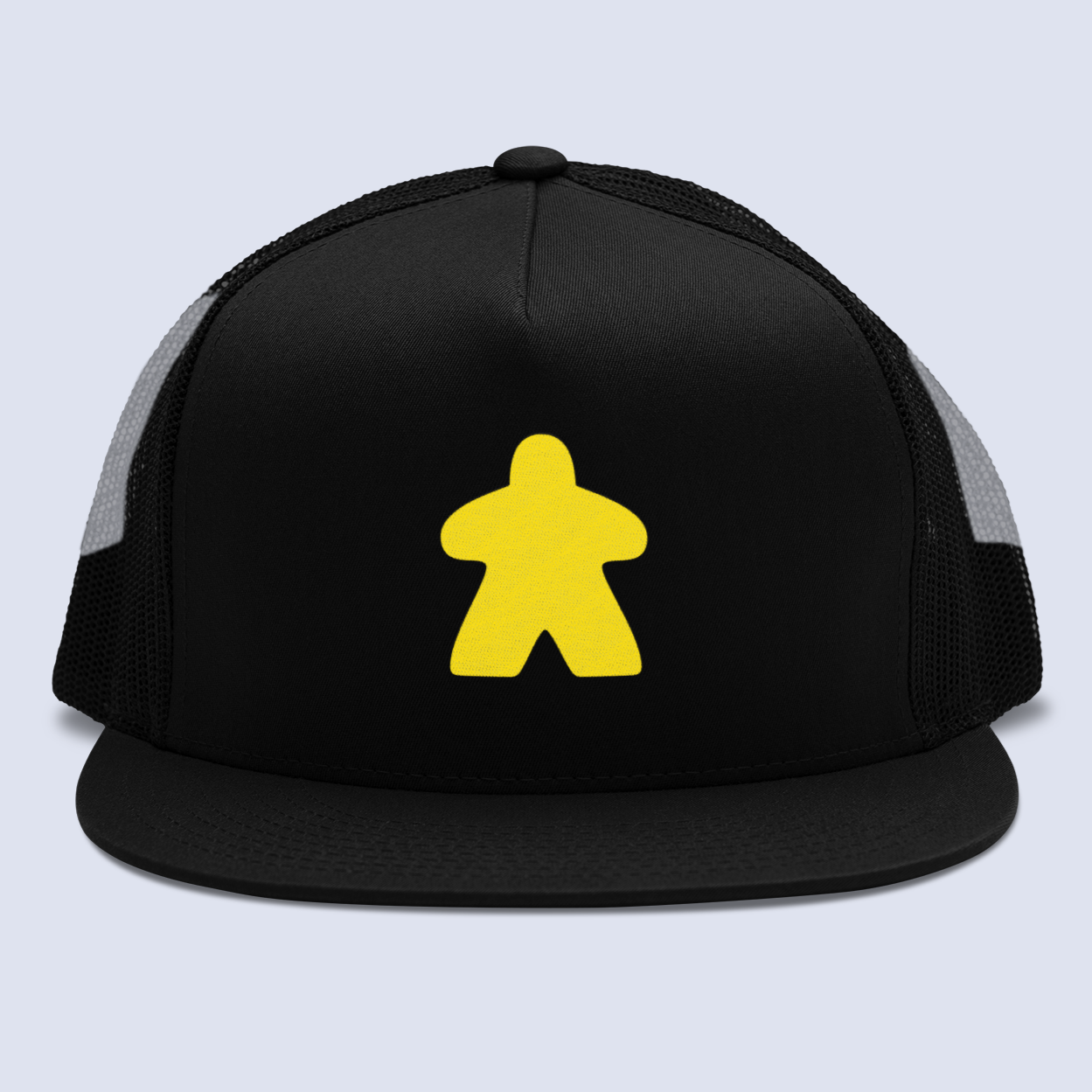 Yellow Meeple Board Game Flat Bill Trucker Hat