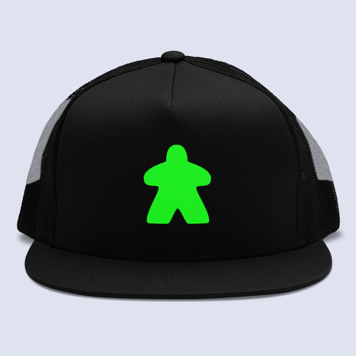 Green Meeple Board Game Flat Bill Trucker Hat