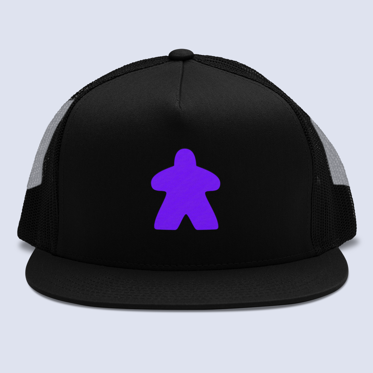 Purple Meeple Board Game Flat Bill Trucker Hat