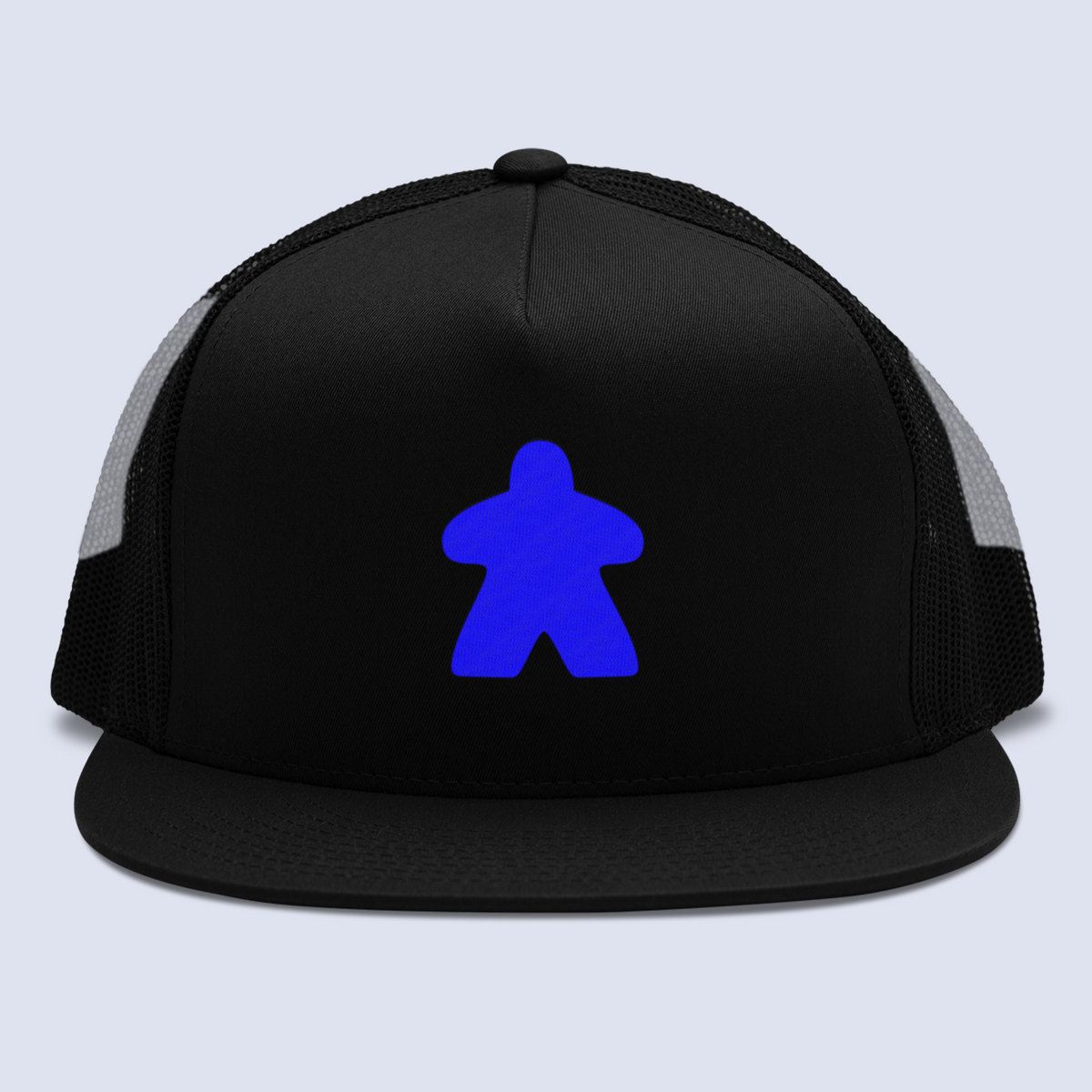 Blue Meeple Board Game Flat Bill Trucker Hat
