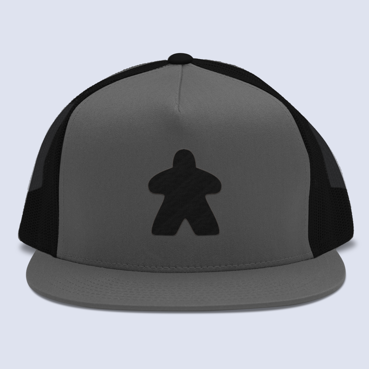 Black Meeple Board Game Flat Bill Trucker Hat
