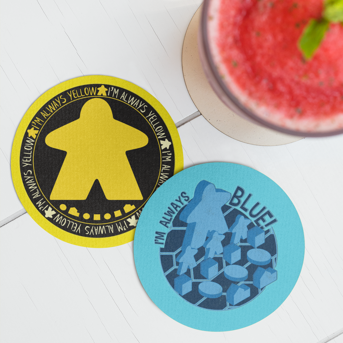 I'm Always Colors Meeple Board Game Coaster