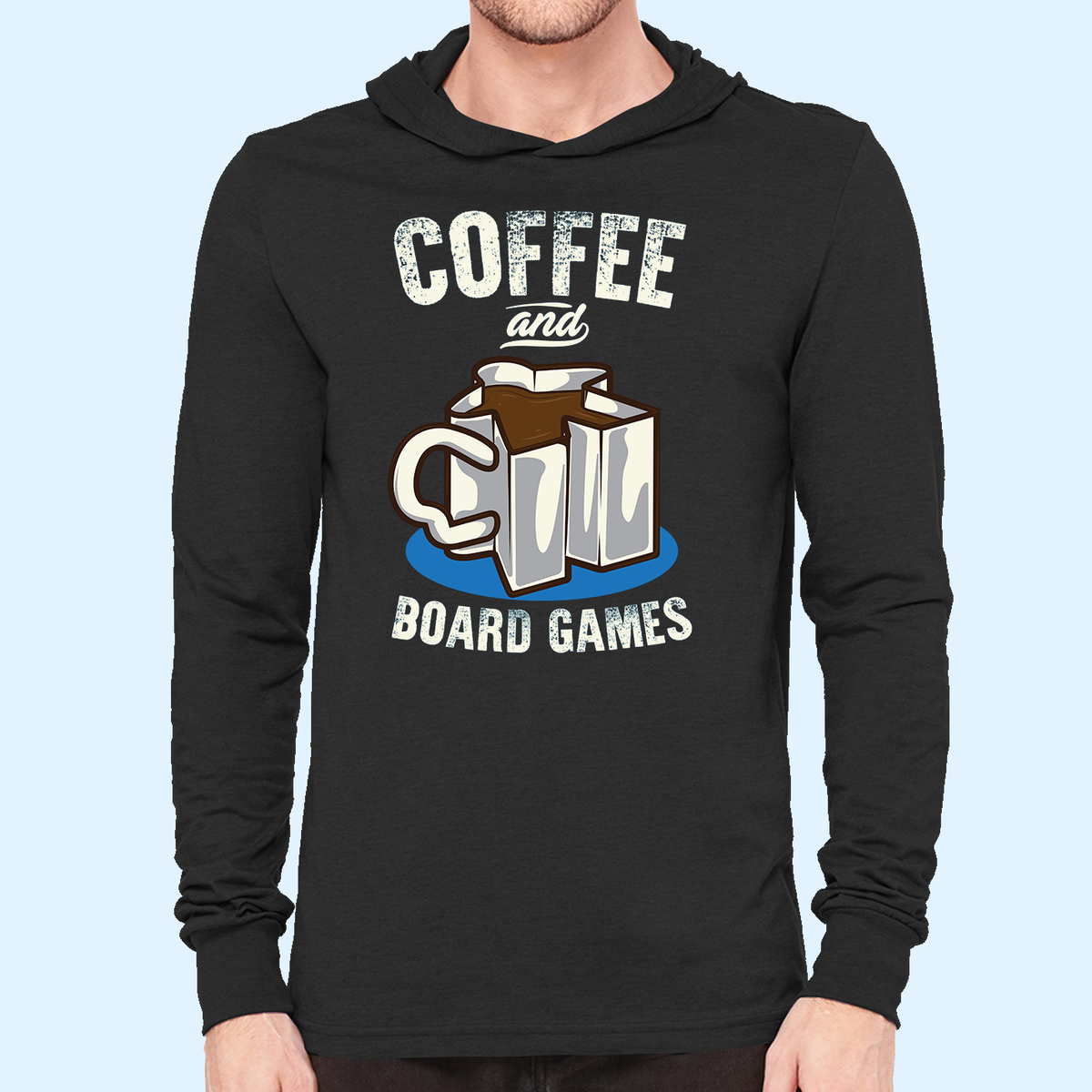 Coffee and Board Games Hooded Longsleeve T-Shirt