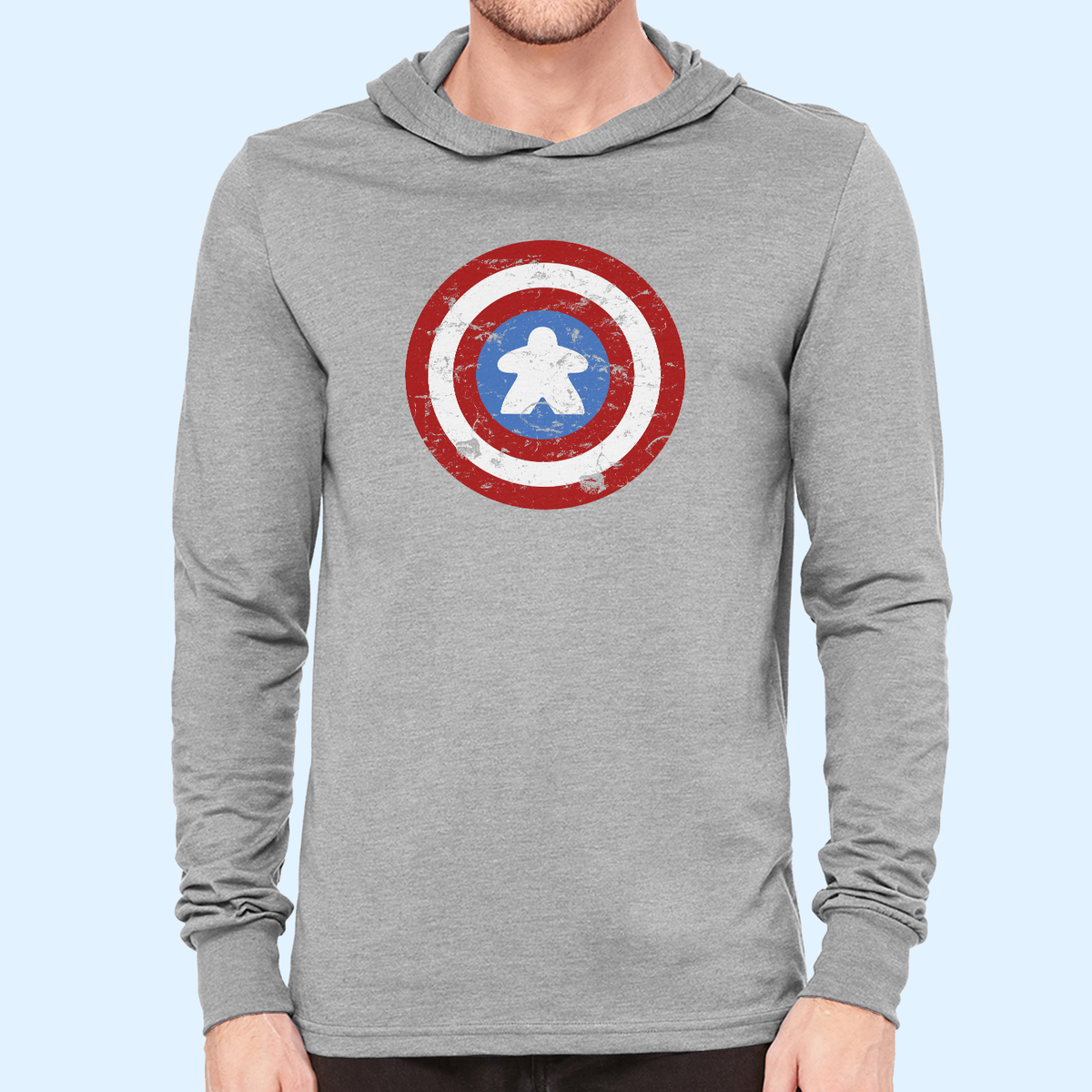 Captain Meeple Shield Board Game Hooded Longsleeve T-Shirt