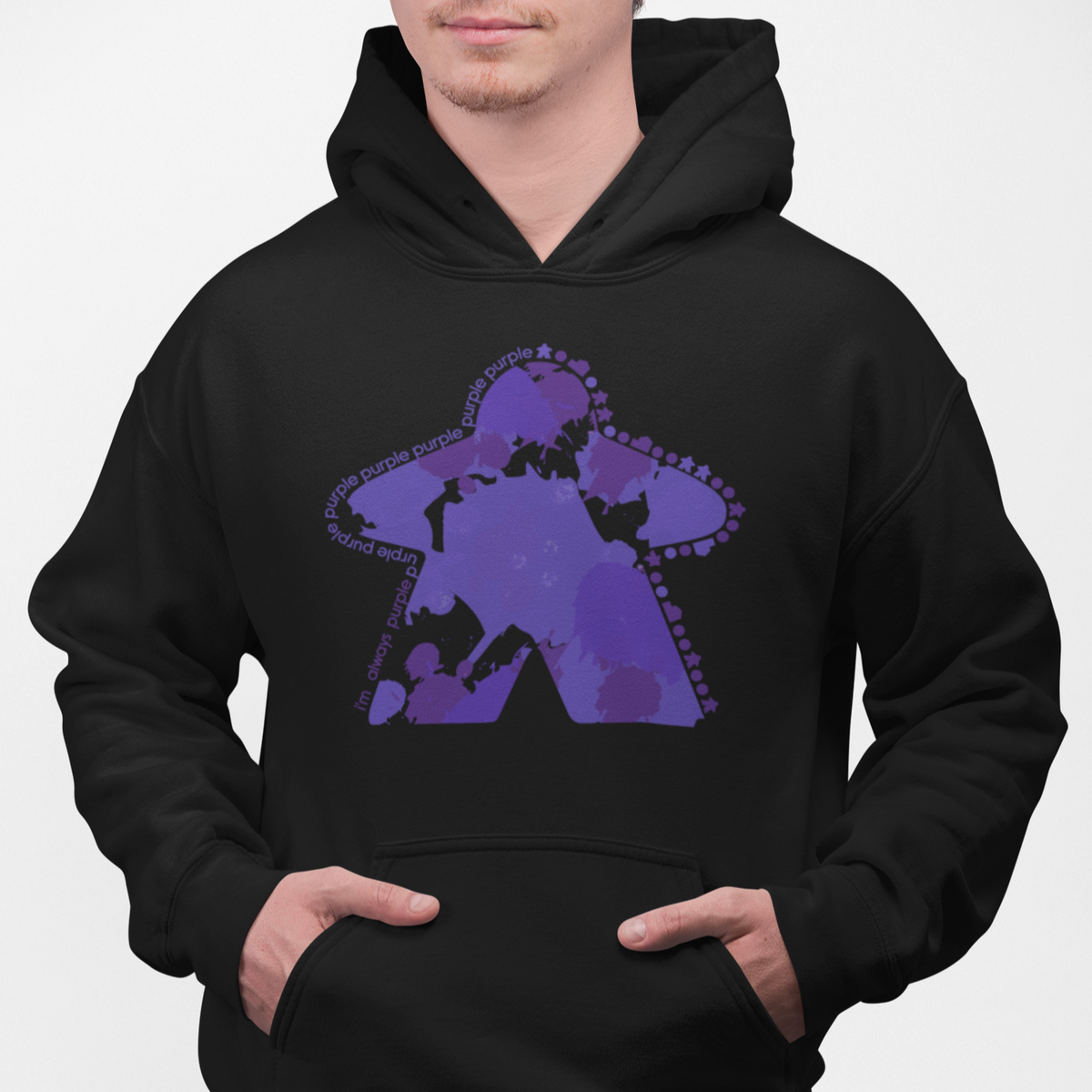 I'm Always Purple Meeple Board Game Pullover Hoodie