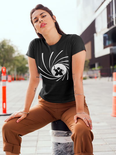 Secret Agent Meeple T-Shirt Action Shot Women's
