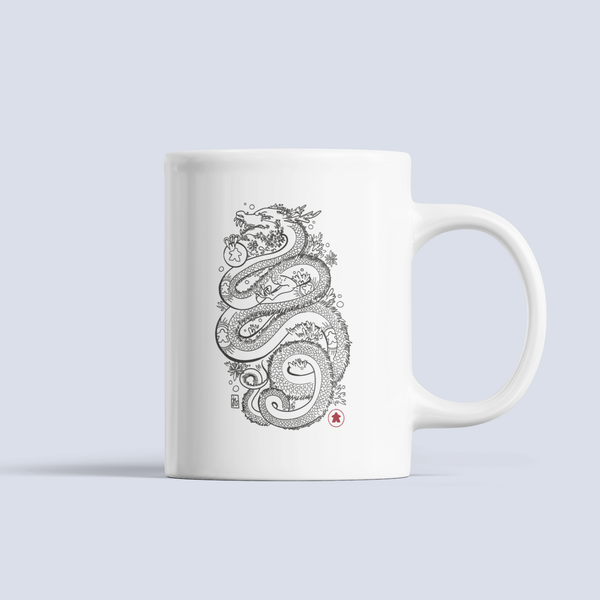 Dragon With The Meeple Tattoos Board Game Ceramic 15oz Mug