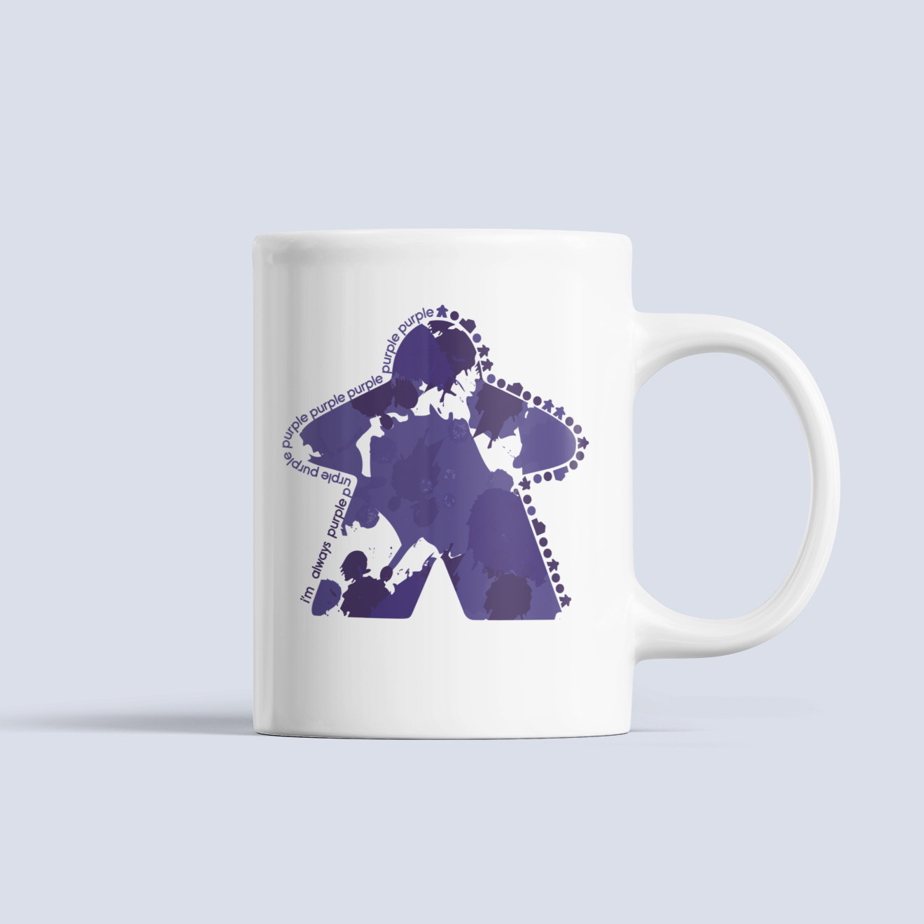 Purple Meeple Board Game Ceramic Mug