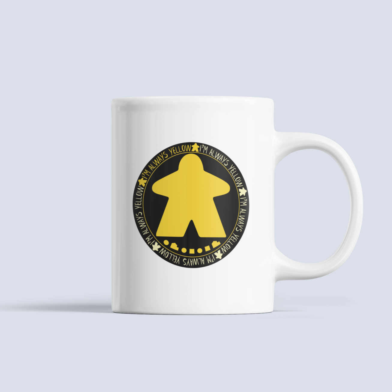 I'm Always Yellow Meeple Board Game Ceramic 15oz Mug