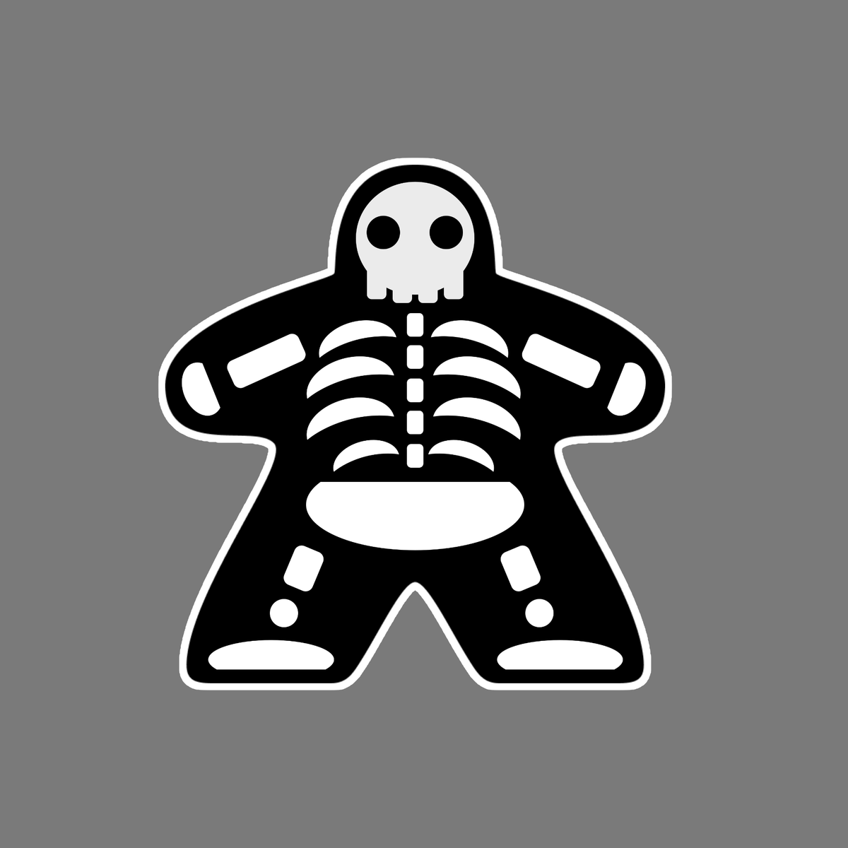 Black Meeple Halloween Skeleton T-Shirt