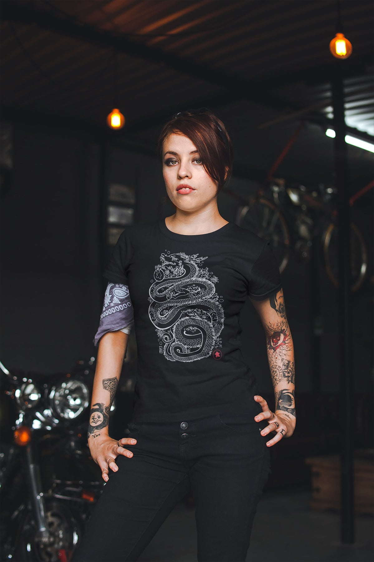 Dragon With The Meeple Tattoos Board Game T-Shirt Action Shot Women's