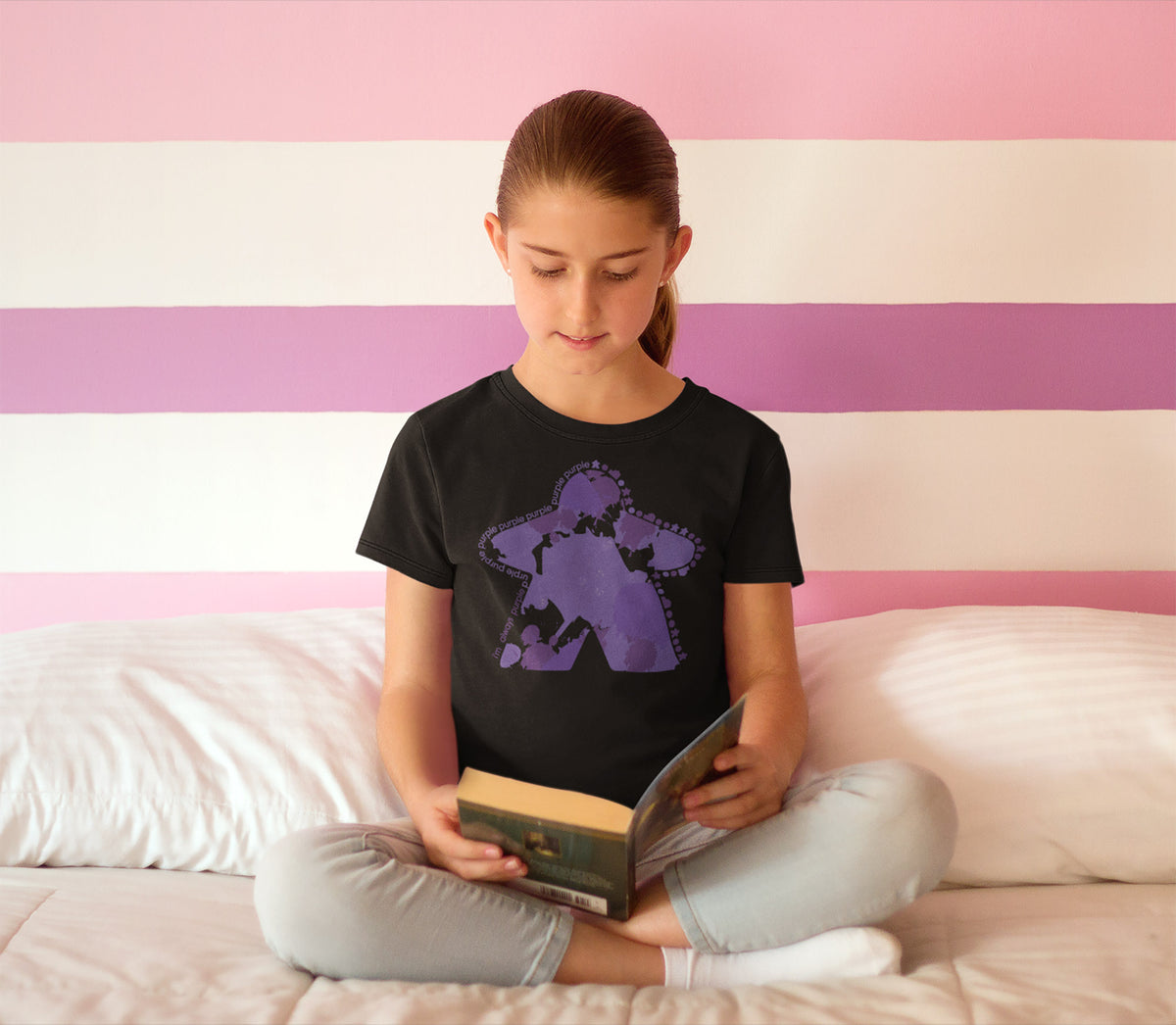 I'm Always Purple Meeple Board Game T-Shirt Action Shot Girl's
