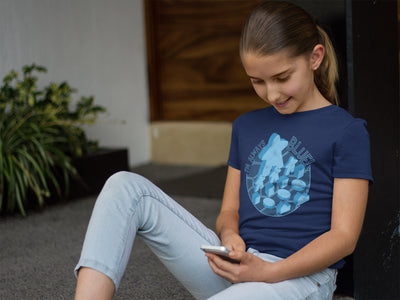 I'm Always Blue Meeple Board Game T-Shirt Action Shot Girl's