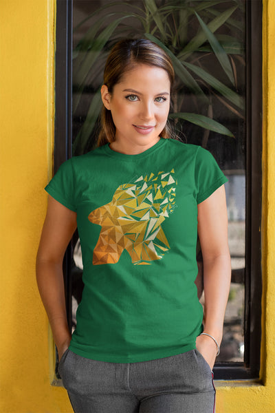 Fragmented Meeple Board Game T-Shirt Action Shot Women's Green
