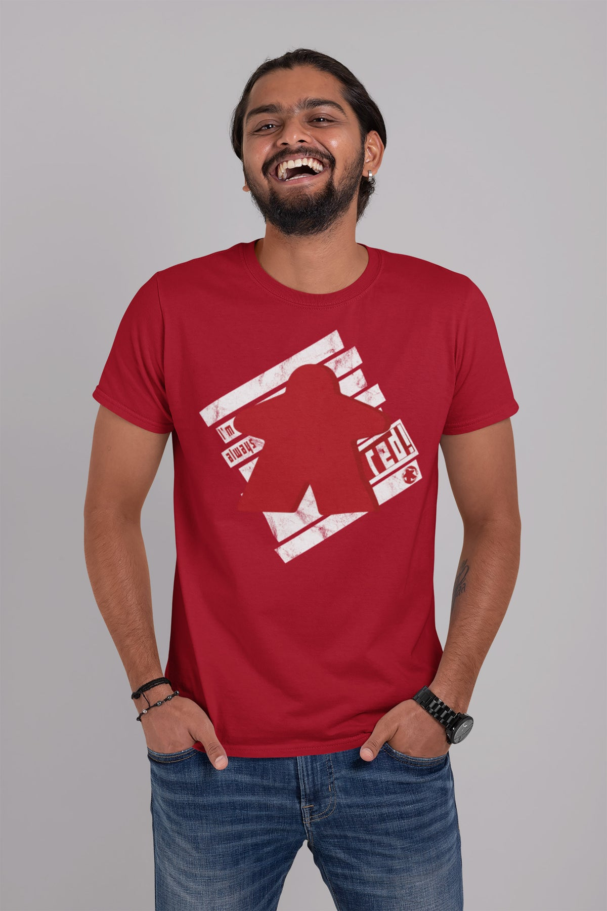 I'm Always Red Meeple Board Game T-Shirt Action Shot Men's