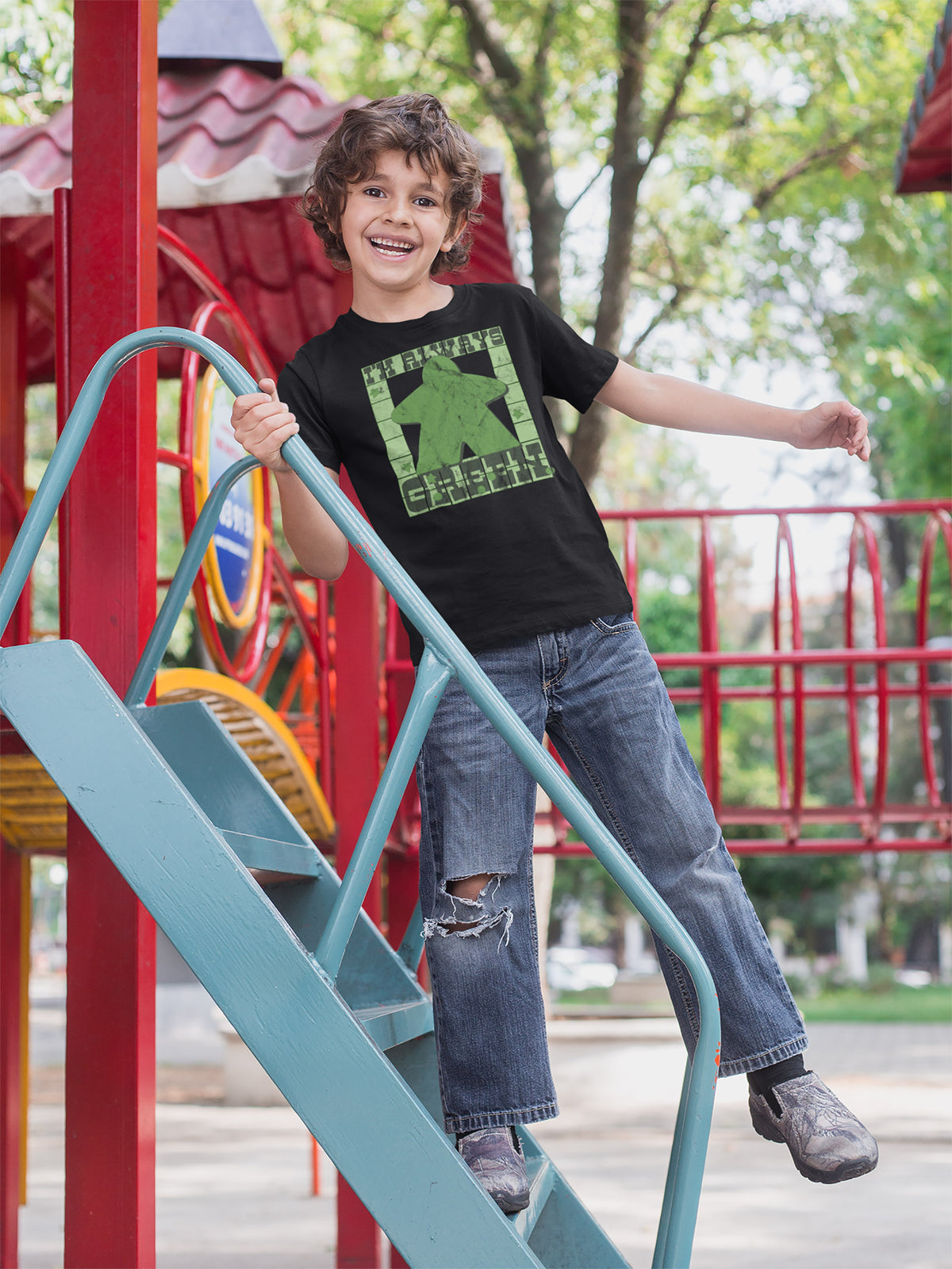I'm Always Green Meeple Board Game T-Shirt Action Shot Boy's