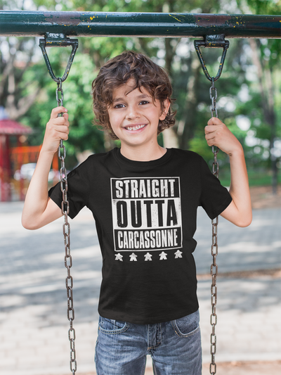 Straight OUTTA Carcassonne Board Game T-Shirt Action Shot Boy's