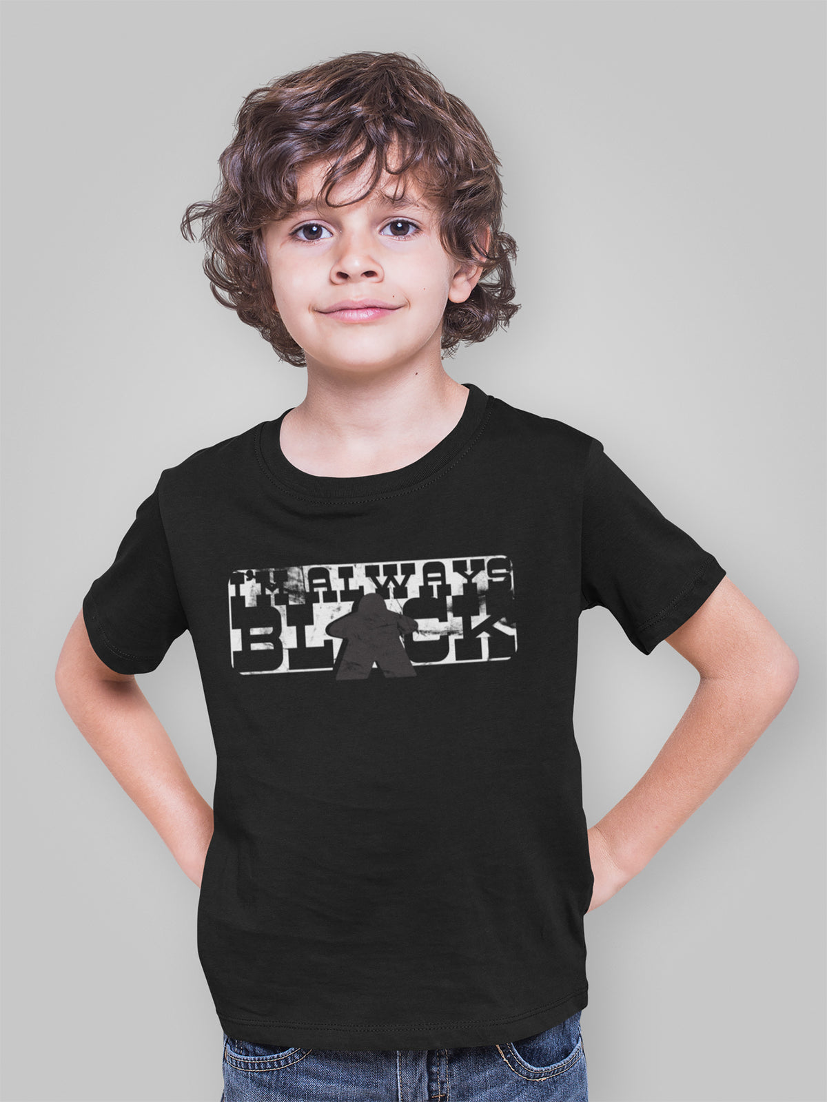 I'm Always Black Meeple Board Game T-Shirt Action Shot Boy's