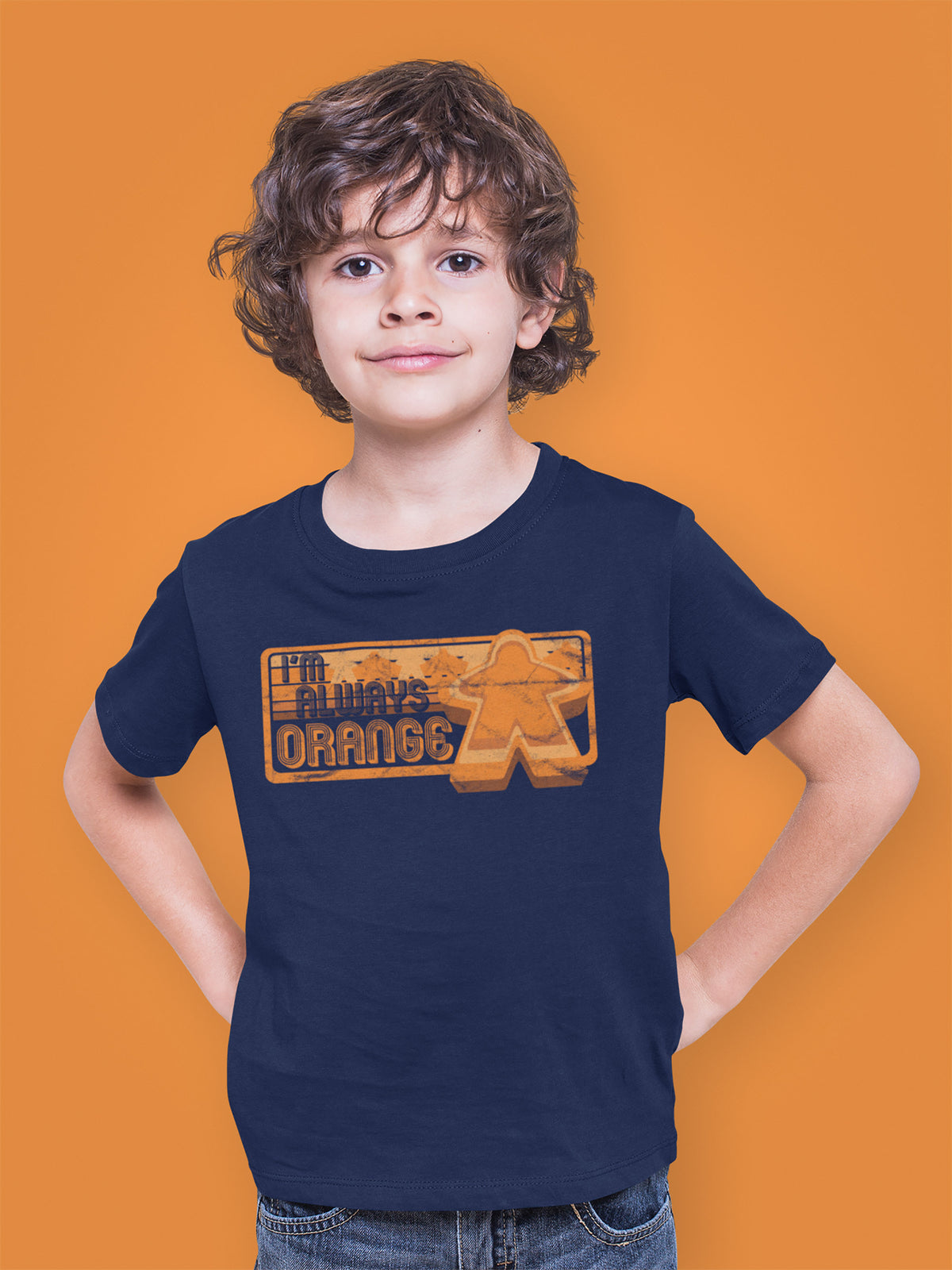 I'm Always Orange Meeple Board Game T-Shirt Action Shot Boy's