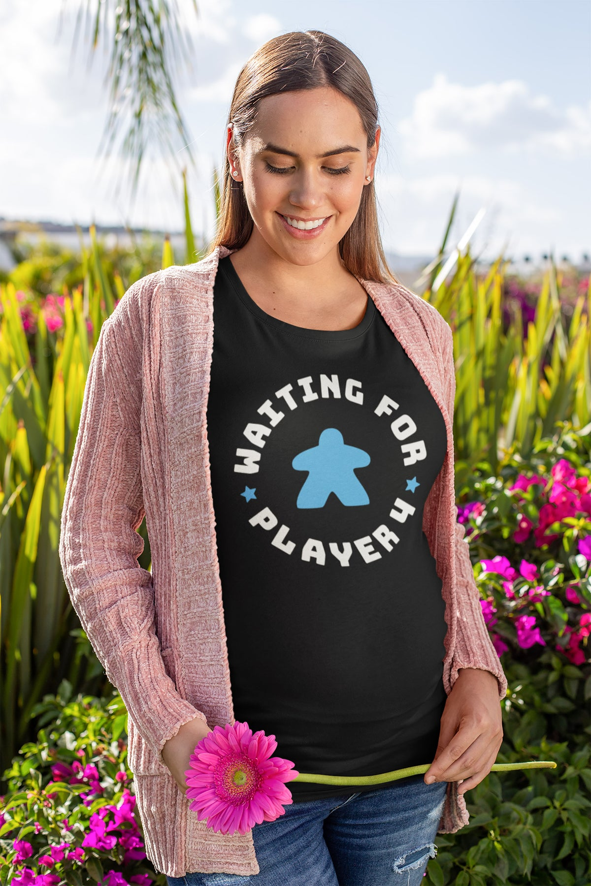 Waiting For Player 4 Maternity T-Shirt Action Shot Blue
