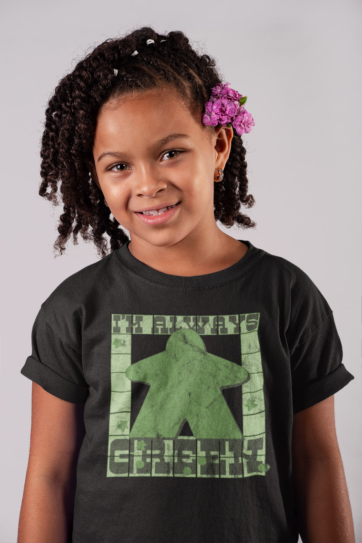 I'm Always Green Meeple Board Game T-Shirt Action Shot Girl's