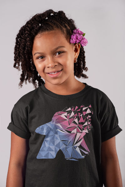 Fragmented Meeple Board Game T-Shirt Action Shot Black Girl's