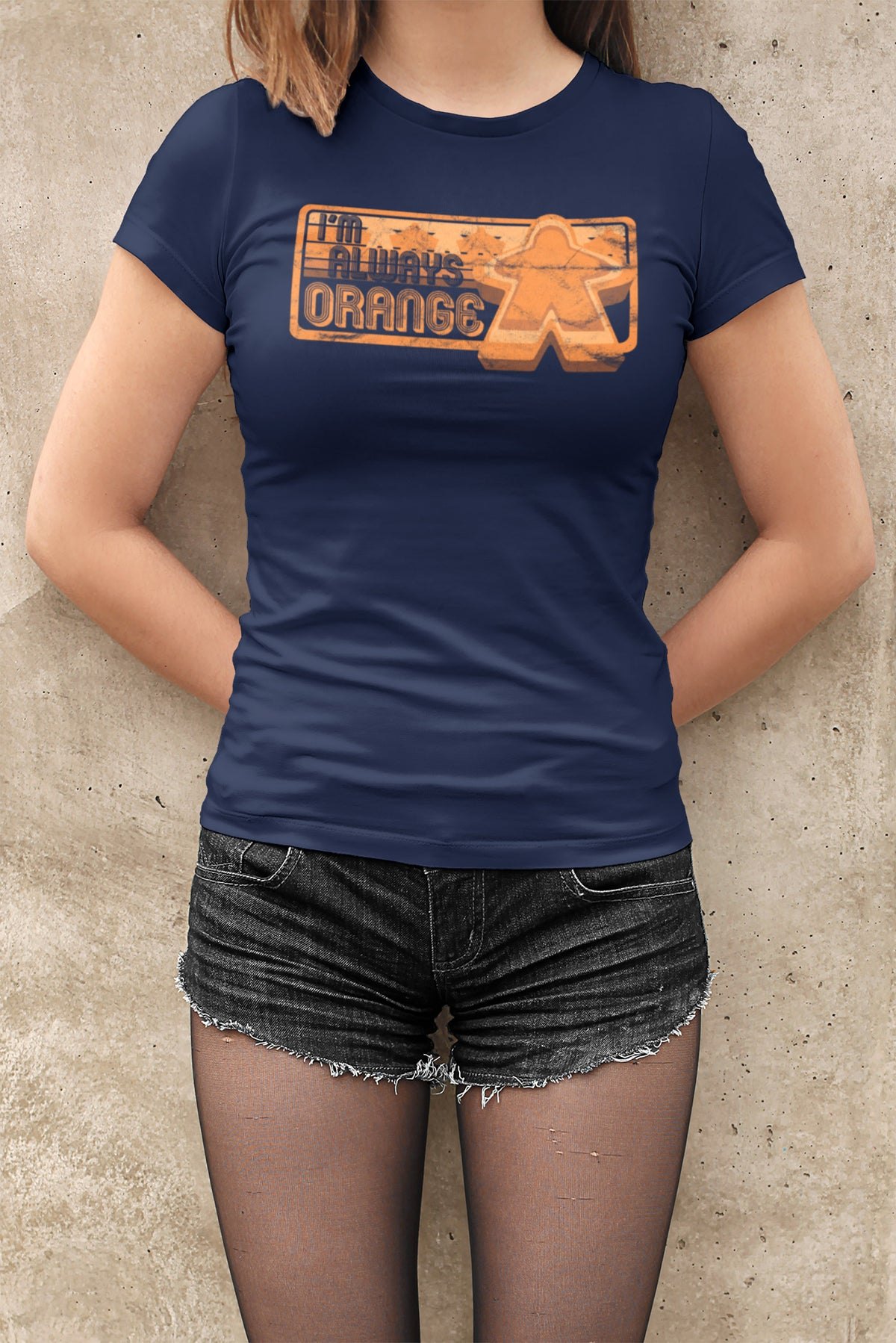 I'm Always Orange Meeple Board Game T-Shirt Action Shot Women's