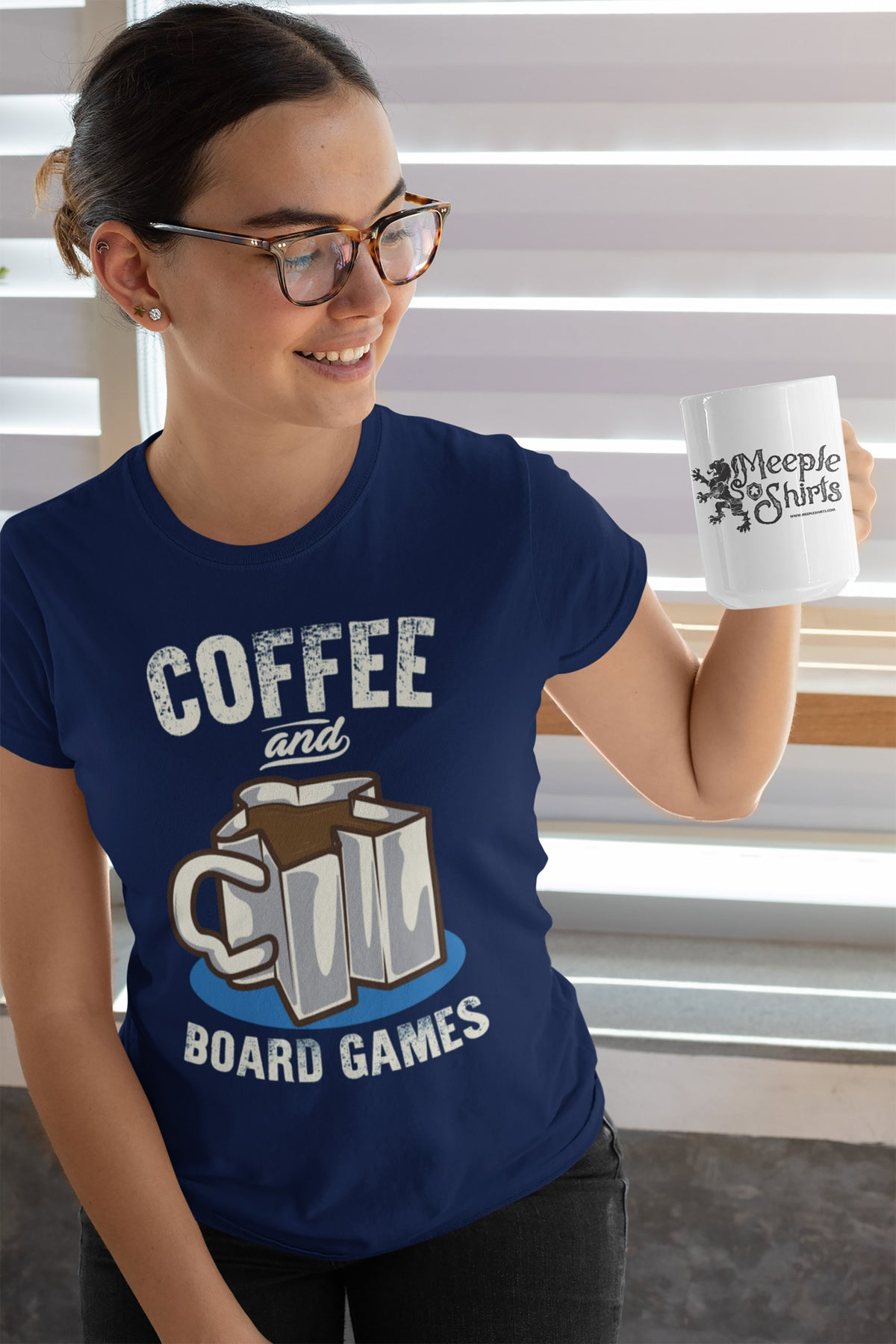 Coffee and Board Games T-Shirt Action Shot Women's